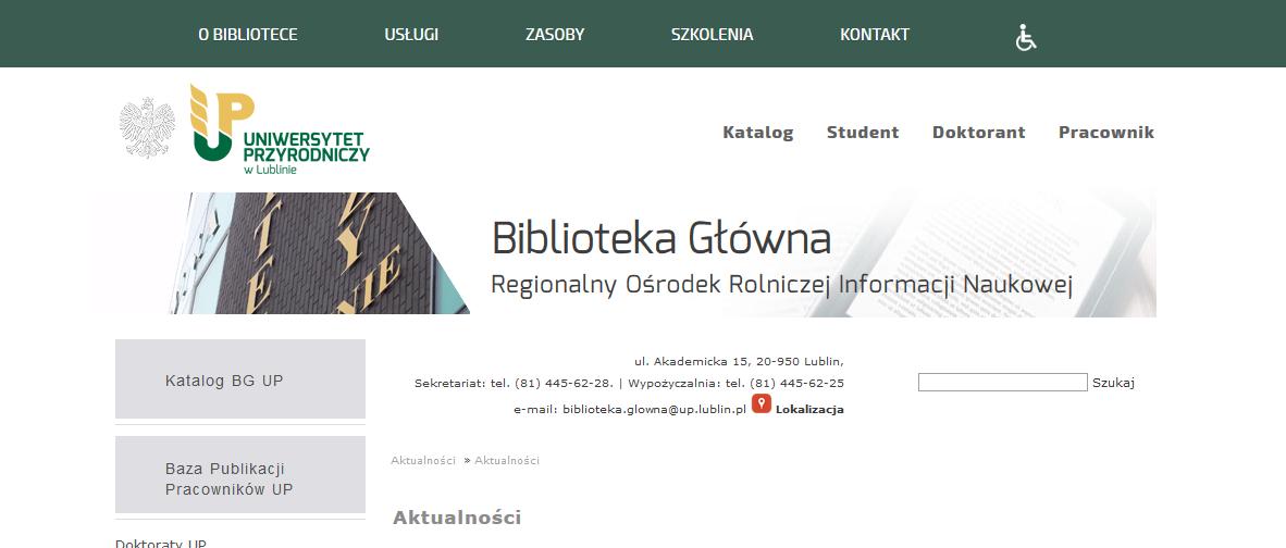 Strona internetowa dla studentów